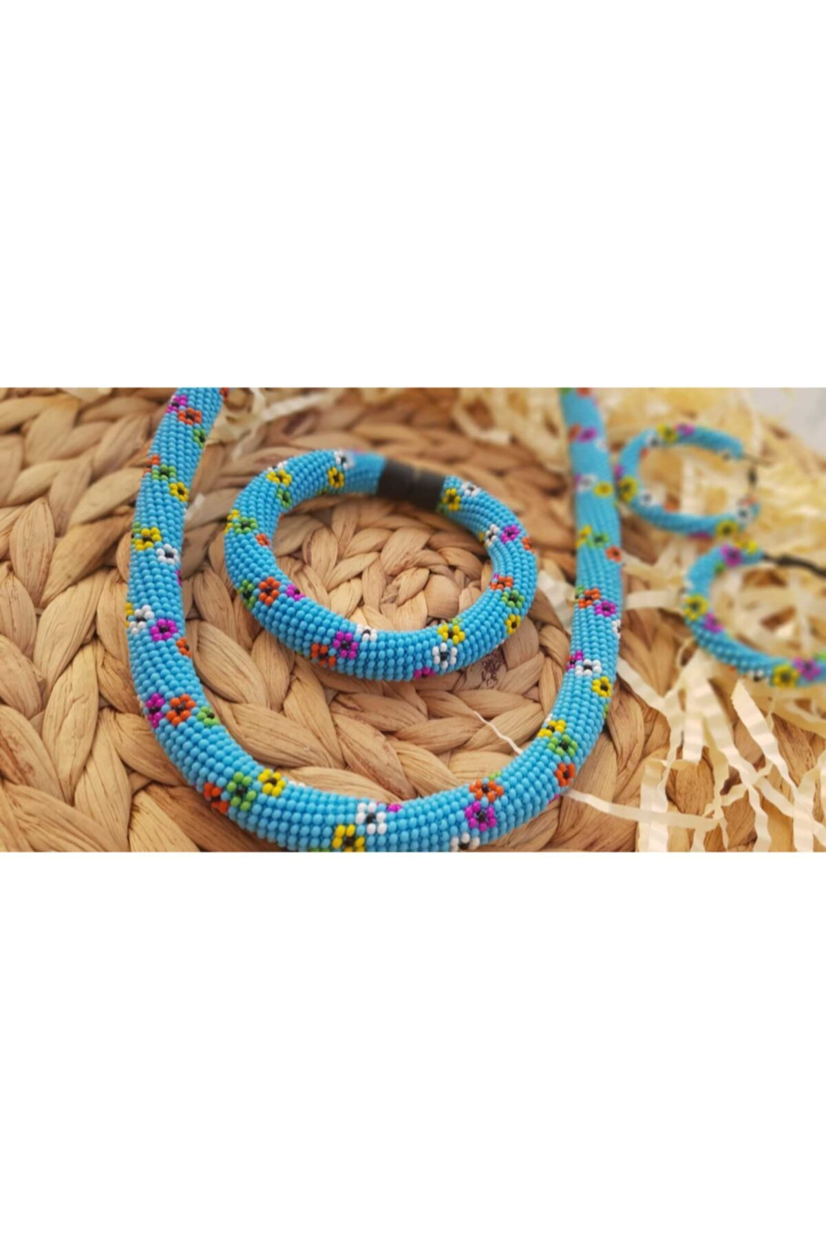مجوهرات الأزياء النسائية اليدوية الديك نموذج سميكة مع ديزي نمط الرمال الخرز سوار قلادة طقم أقراط