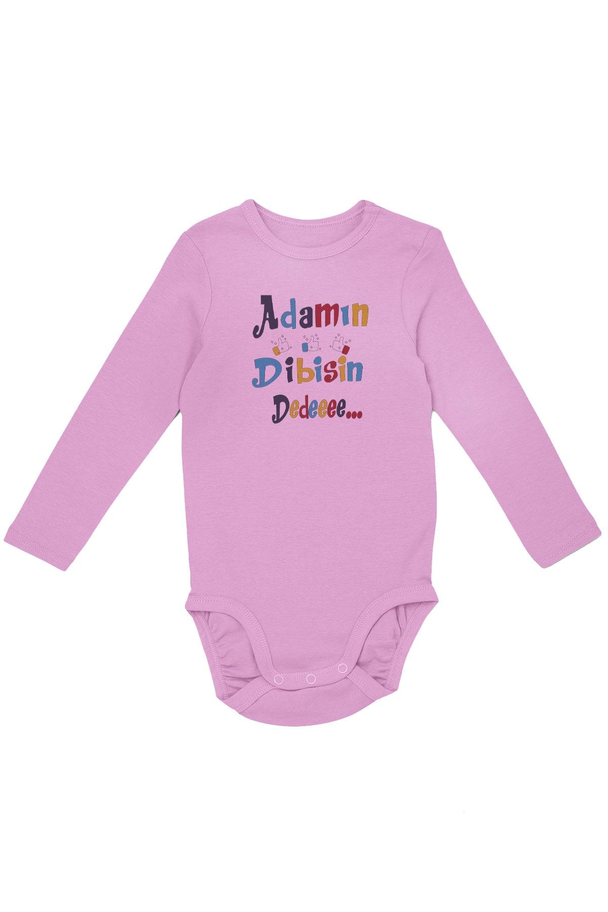 Angemiel bebé Adamın Dibisin dededeee niña bebé de manga larga Zibin rosa