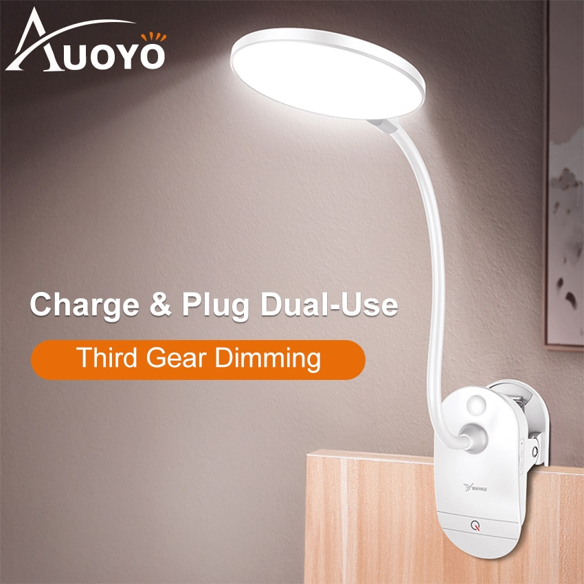Auoyo Led Table Lamp Clip Desk with 3 Modes Touch On/off Switch Light 4000K Eye Protection Dimmer Rechargeable