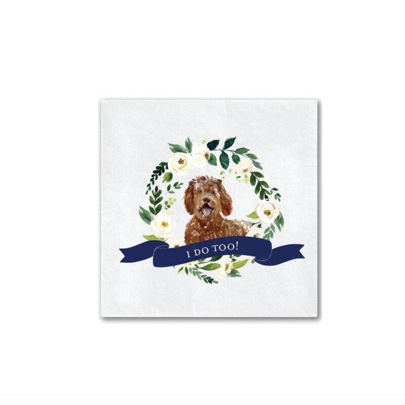 I Do Too-servilletas de boda personalizadas a todo Color para perros   Ducha nupcial   Cena de ensayo   Toallas de baño para bebés para fiesta de compromiso