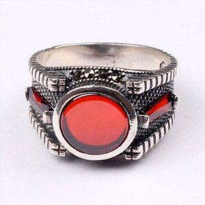 Handmade Mans Zircon Red Gemstone Ring, Mans 925 Silver Ring, Zircon Ring, Silver Handmade Ring,Zircon Ring
