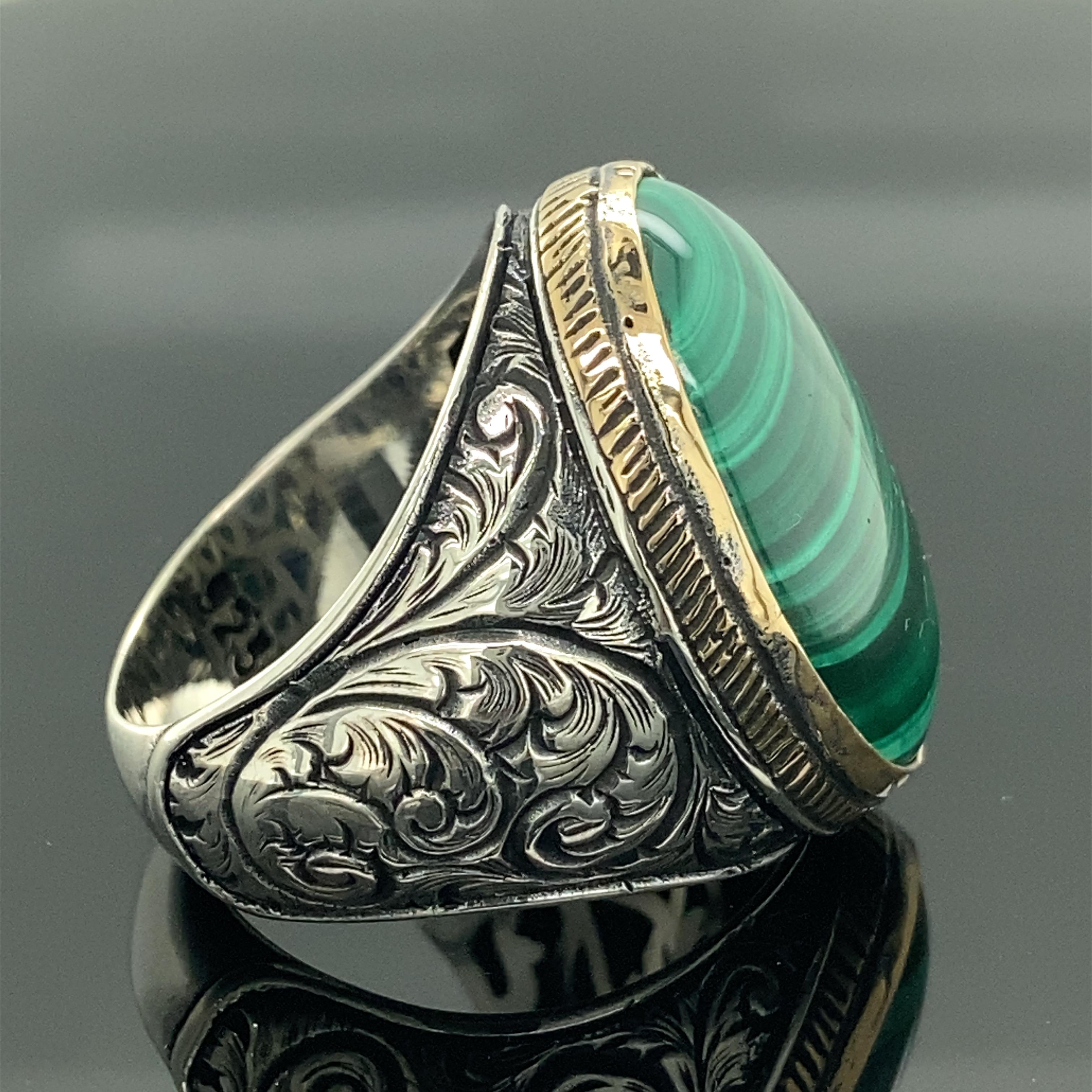 Men Handmade Ring , Malachite Gemstone Ring , Oval Gemstone Ring , Embroidered Ring , Ottoman Jewelry , 925k Sterling Silver Rin