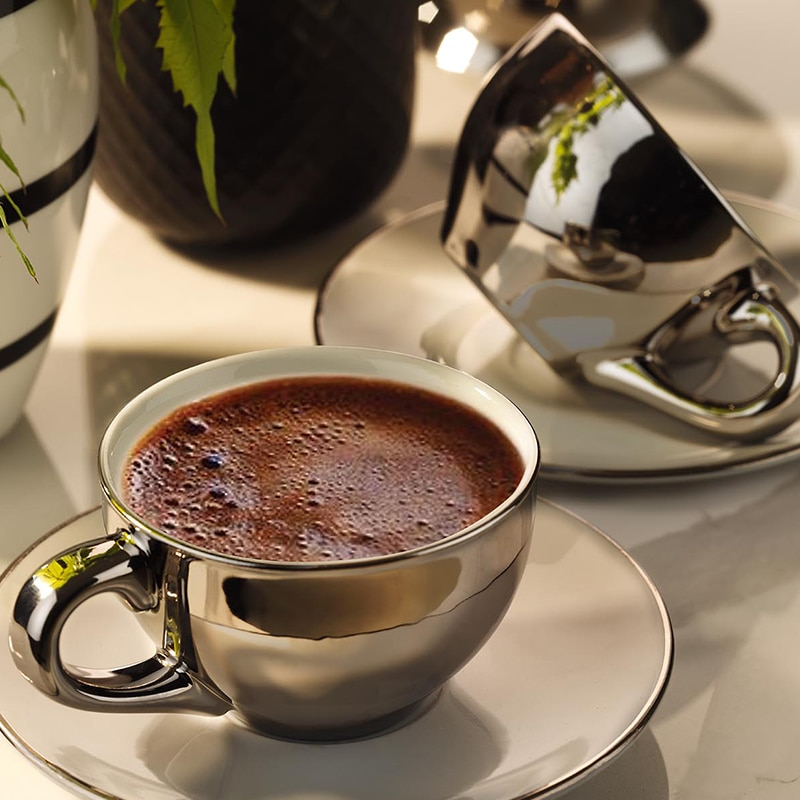 Kutahya Porcelain Stella Double Coffee Set Platinum Plated Turkish Coffee Espresso Americano Filter Made in Turkey %100 Original