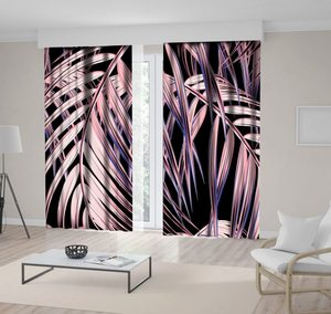 Curtain Tropical Palm Leaves Floral Pattern Romantic Exotic Beach Nature Decorating Artwork Printed Black Blue Pink