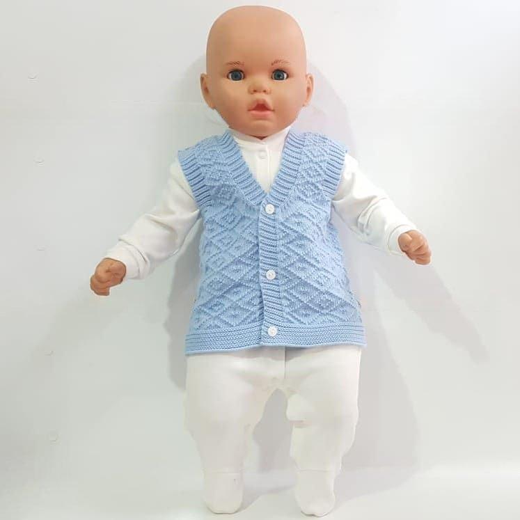 Chaleco azul de punto para bebé