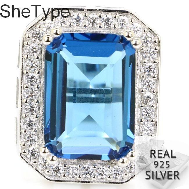 25x20mm shetype 9.2g criado rosa turmalina natural cz senhoras real 925 sólido anel de prata esterlina 25x20mm