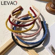 Levao Simple Velvet Headband Plush Head Bezel Hair Bands for Women Autumn Winter Thin Hairbands Hair Hoop Accessories
