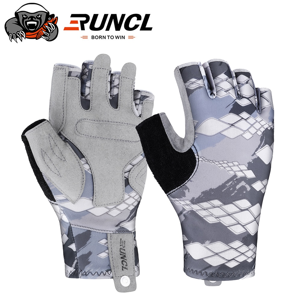 RUNCL  Fishing Gloves Breathable UPF 50+ Sun Protection Fingerless Sports Gloves Use for Outdoor Kay