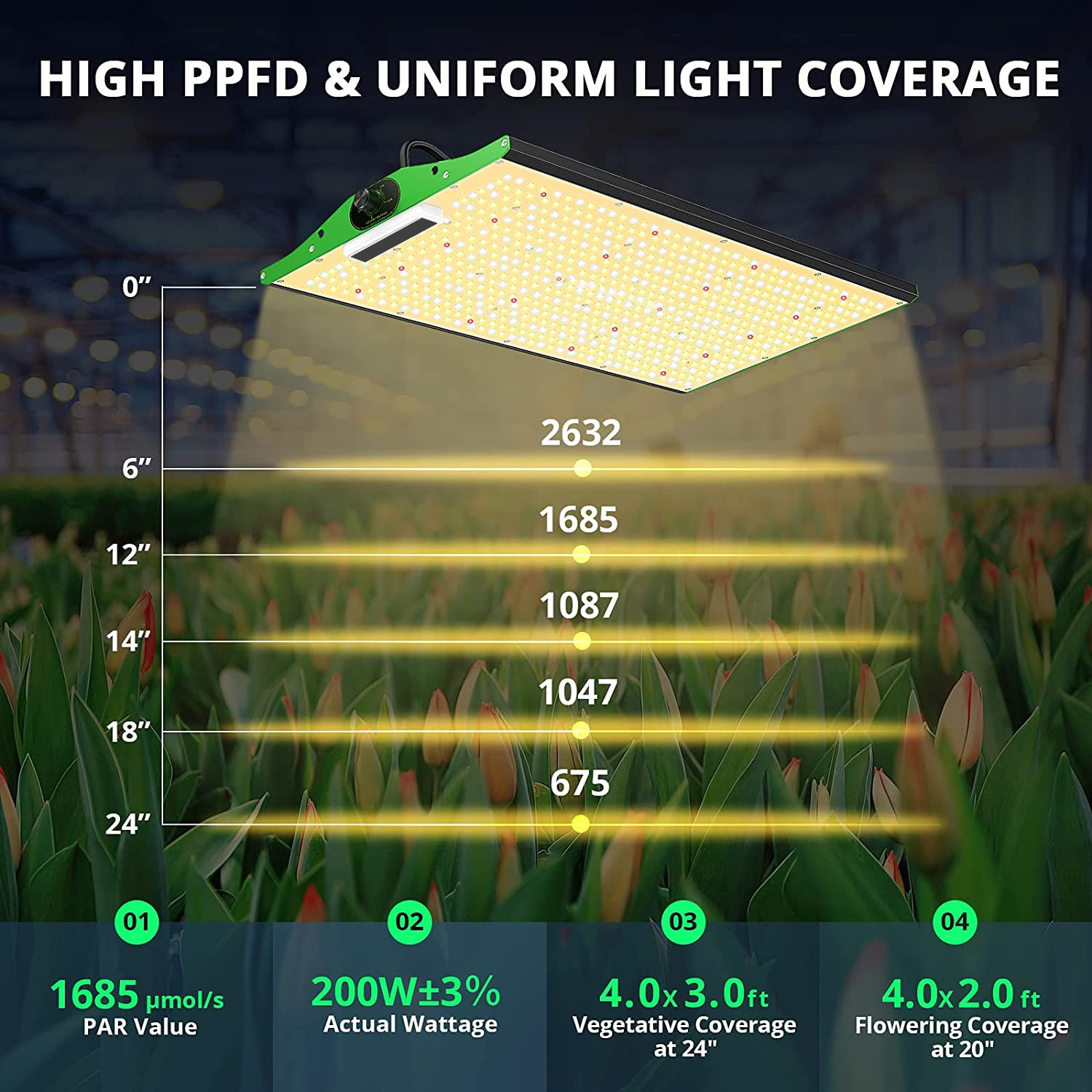LED Grow Light, ZFR P2000 LED Grow Light 4x2ft Coverage Full Spectrum LED Grow Lights with SAMSUNG LM301B (Includes IR), D enlarge
