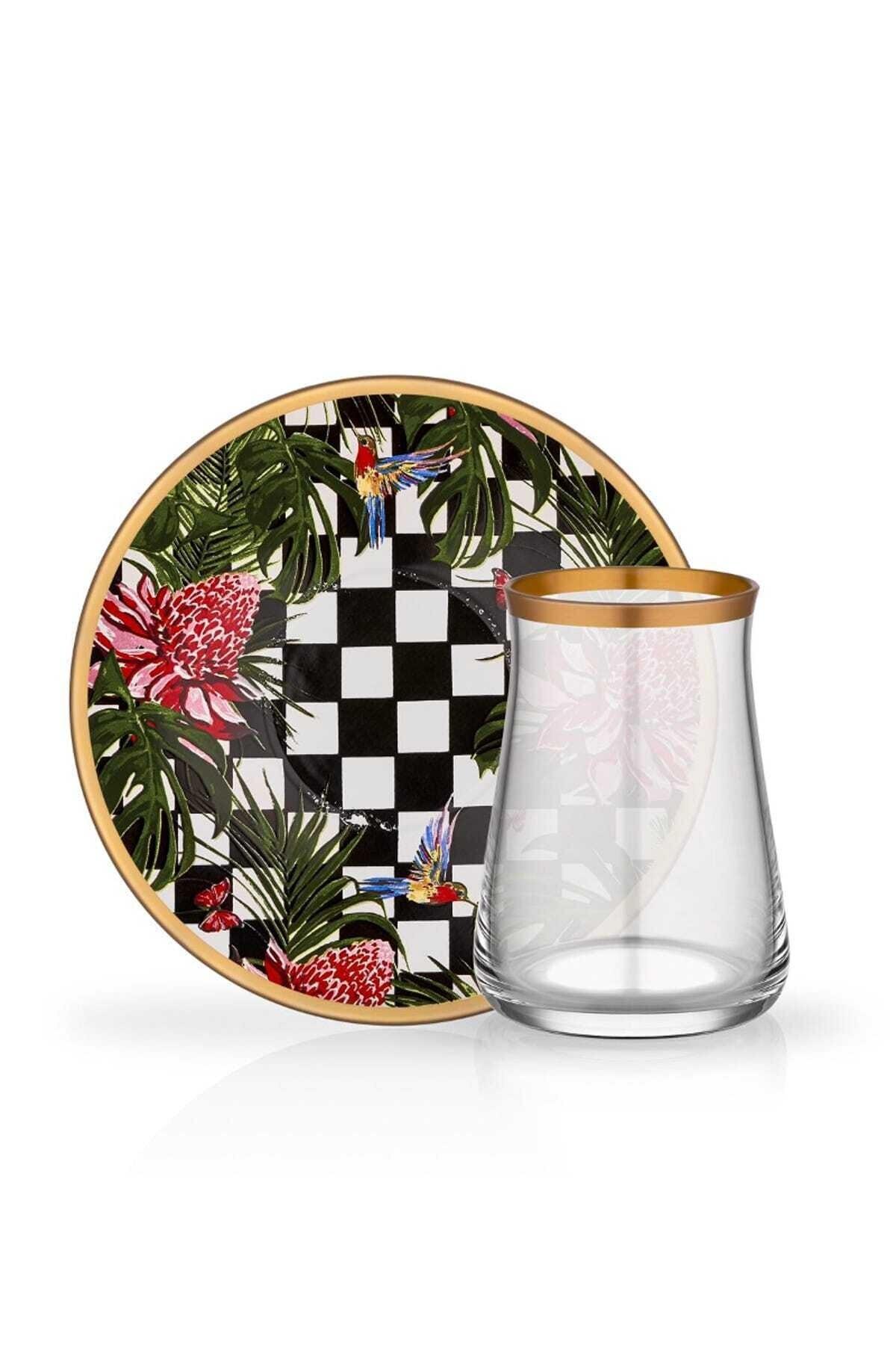 غلور عائشة التركية كوب للشاي من الزجاج مجموعة من 6