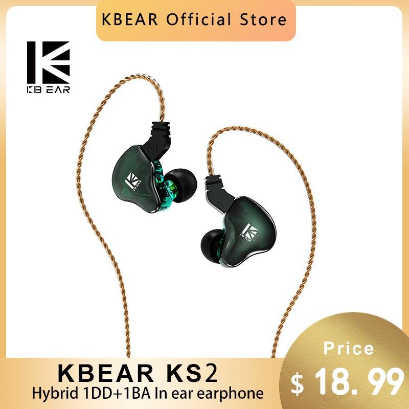 KBEAR KS2 الهجين DD + BA في الأذن رصد سماعة 0.78mmTFZ سماعات HiFi الرياضة تشغيل سماعة رأس سلكية KBEAR ST1 KS1 Lark
