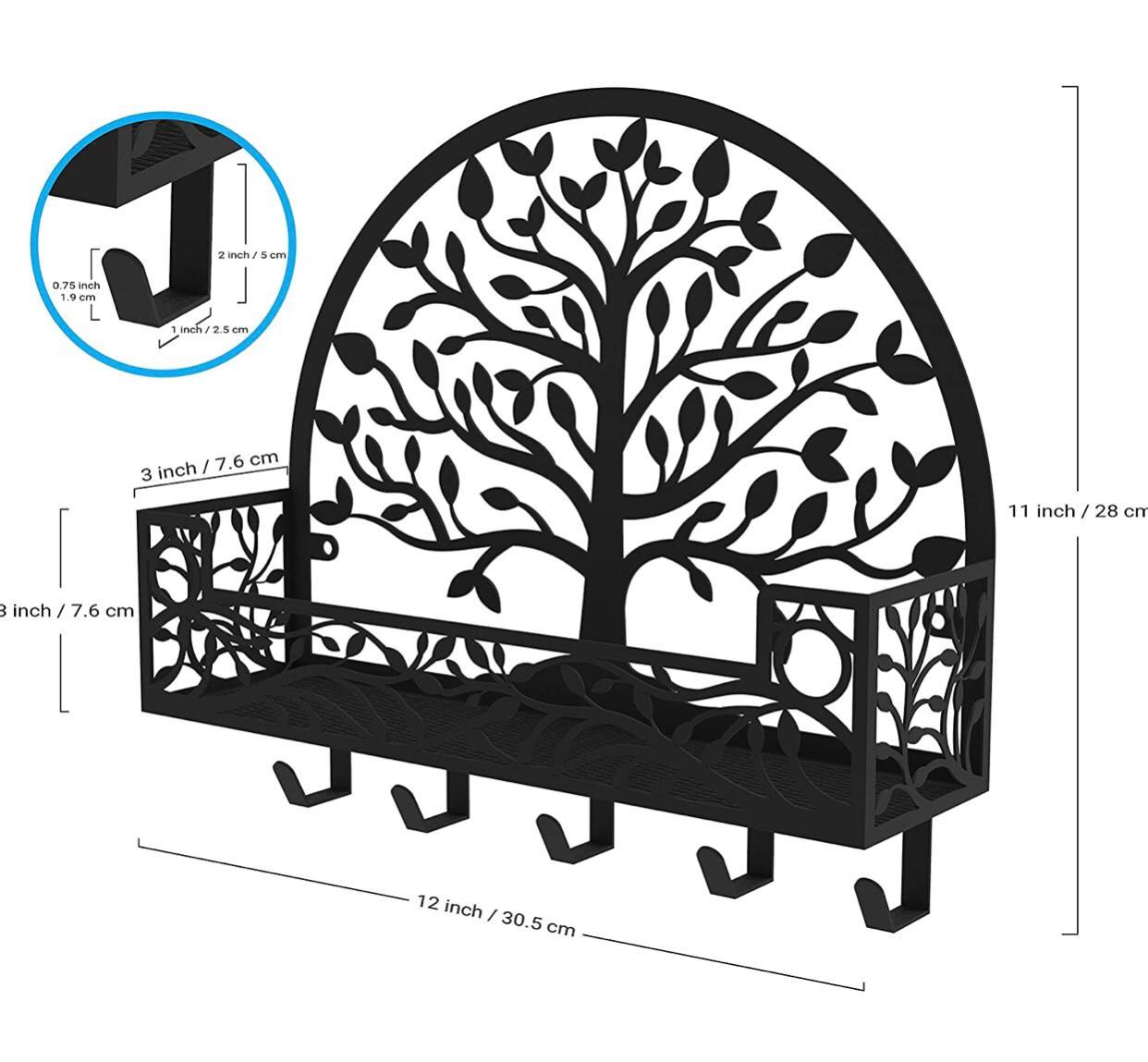 You Bella LLC الجملة شجرة تصميم نمط شماعات معدنية الزخرفية للمنازل ، سلسلة المفاتيح ، حامل حقيبة ، الحائط الأسود