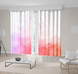 Curtain Colorful Clouds Multicolor Powder Dust Paint Explosion on White Artwork Yellow Pink