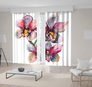 Curtain Orchid Flowers Branch Classic Style Watercolor Painting Artwork Printed Pink Blue Yellow