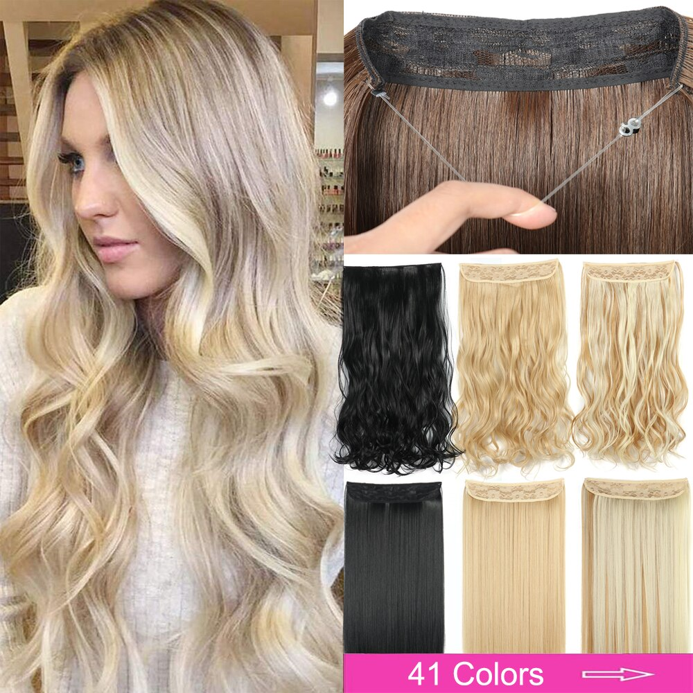 No Clip Halo Hair Extension Curly/Straight Secret Wire Natural Hidden Wire Synthetic Hairpieces Adjustable Transparent Wire