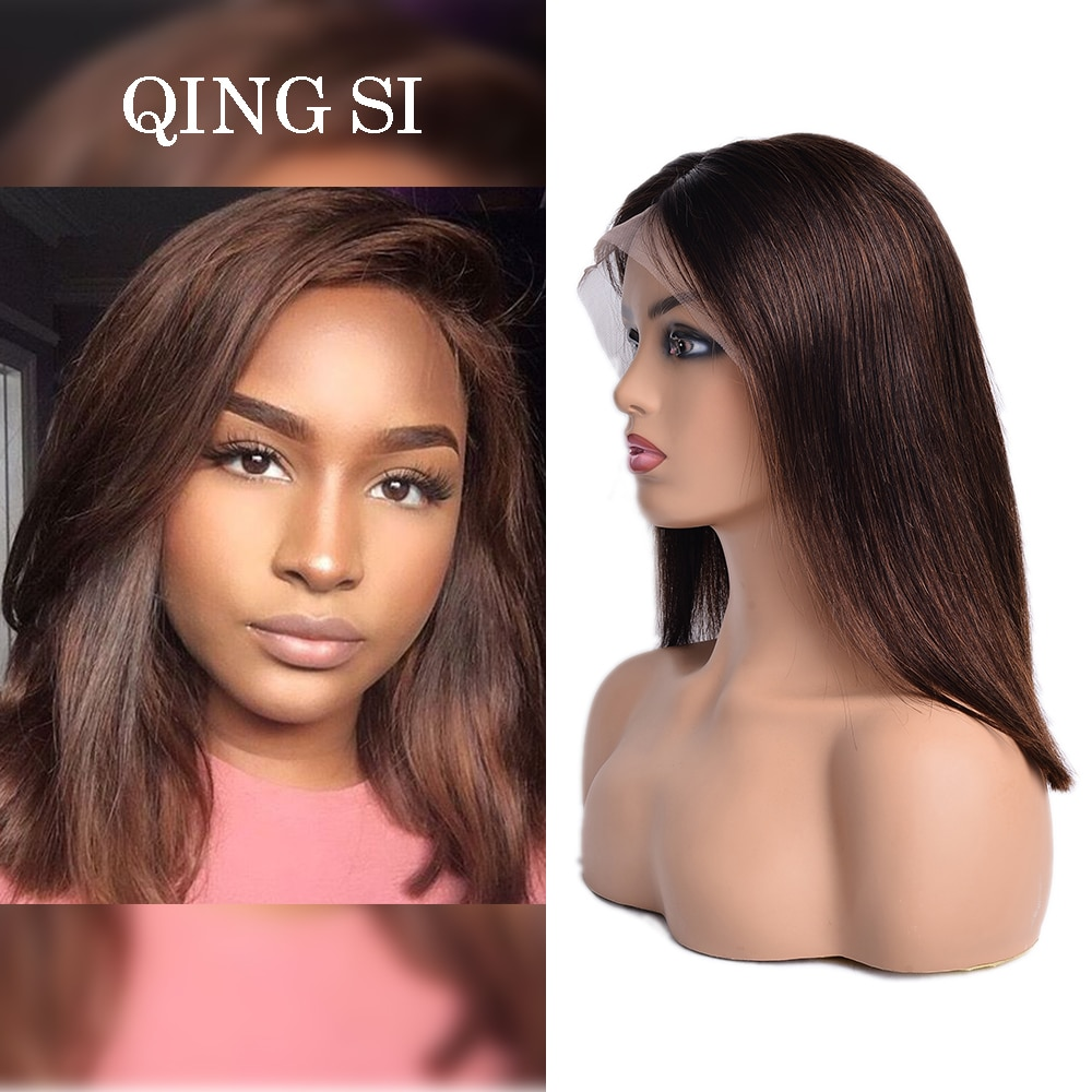 Brazilian Brown Straight Wig Short Bob Closure Wig 13x4 Lace Front Human Hair Wigs Natural Wigs for Women Virgin Hair Wigs