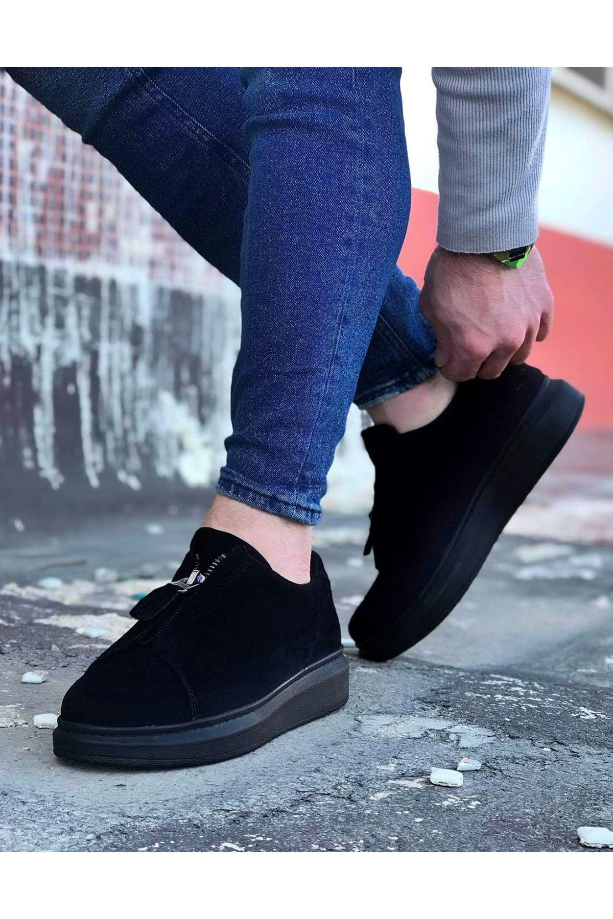 أسود جلد الغزال حذاء رجالي كاجوال الرجال أحذية رياضية غير رسمية 010 أحذية رجالي أحذية عالية وحيد العظام جديد أحذية أنيقة أحذية خفيفة
