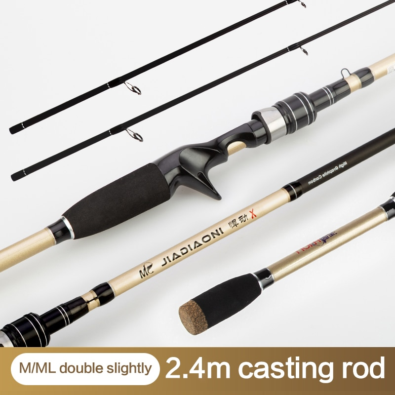 JIADIAONI Casting Spinning Fishing Rod 1.8-2.4M Double Top Tip Hard Carbon Fiber Telescopic Lure Rod enlarge