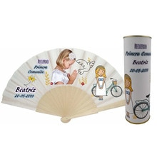 Venta por lotes/Abanico de varillas de madera PERSONALIZADO con foto Comunión niña con paloma lata PERSONALIZADA