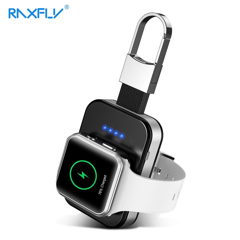Cargador inalámbrico RAXFLY Qi para i Watch 2 3 4 950mah banco de energía para Apple Watch Paquete de batería externa Mini BASE DE cargador inalámbrico
