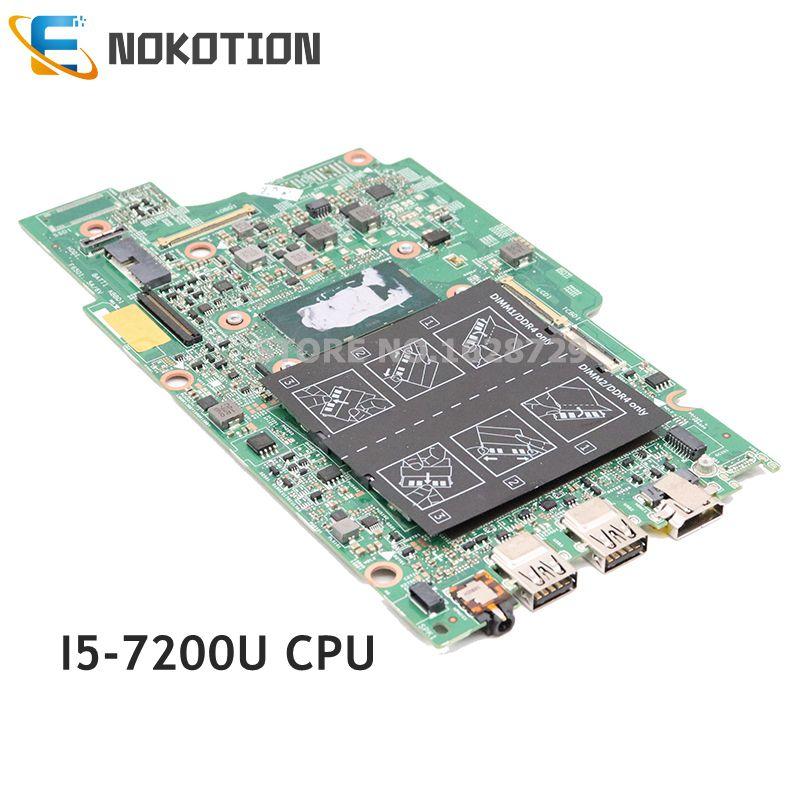 NOKOTION материнская плата для ноутбука Dell Inspiron 13 5000 5378 5578 Материнская плата ноутбука CN-0PG0MH 0PG0MH PG0MH SR2ZU I5-7200U Процессор DDR4 Встроенная GMA HD 620