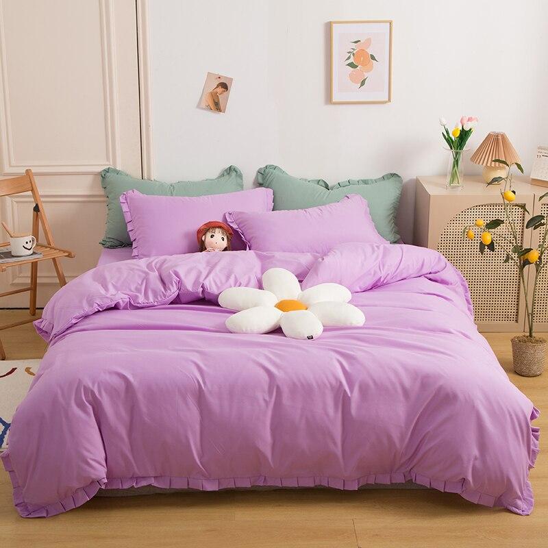 الشمال حاف الغطاء 150x200 طقم سرير واحد غسلها القطن الوردي أغطية سرير المخدة بلون الهريس حتى اليابانية