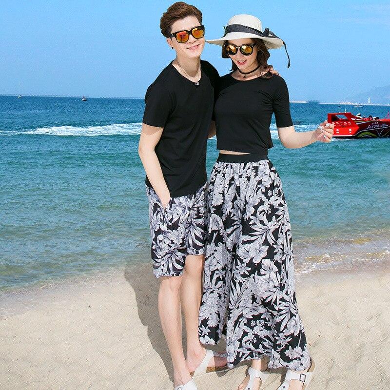 Pareja coreana Ropa Camisetas moda universitaria estilo par amantes mujeres verano playa vestido pantalones conjunto ropa 32