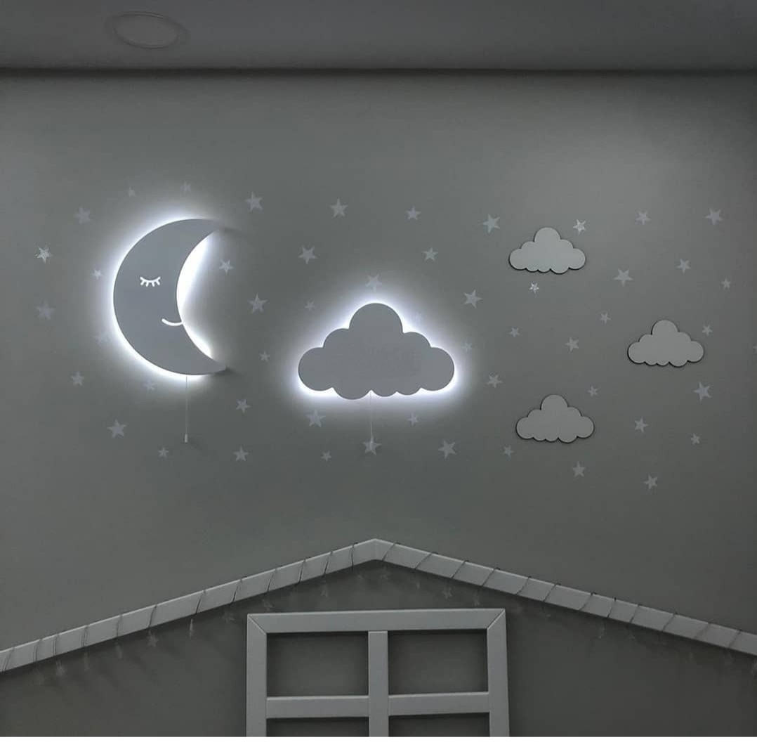 Set of 3- Kids Night Lamp Baby Toy Lamp Night Light Wooden Wall Light Baby Shower Lamp Kids Bedside Decoration Cloud Shağed Deco enlarge