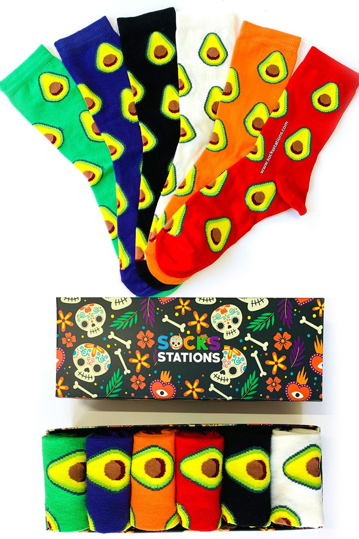 YENİ 2020  Renkli Avokadolar 6'lı Çorap Kutusu 36- 41 NUMARA