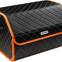 Organizer bag in the car trunk of eco-leather black with gray thread vicecar (orange edging) with Citroen logo