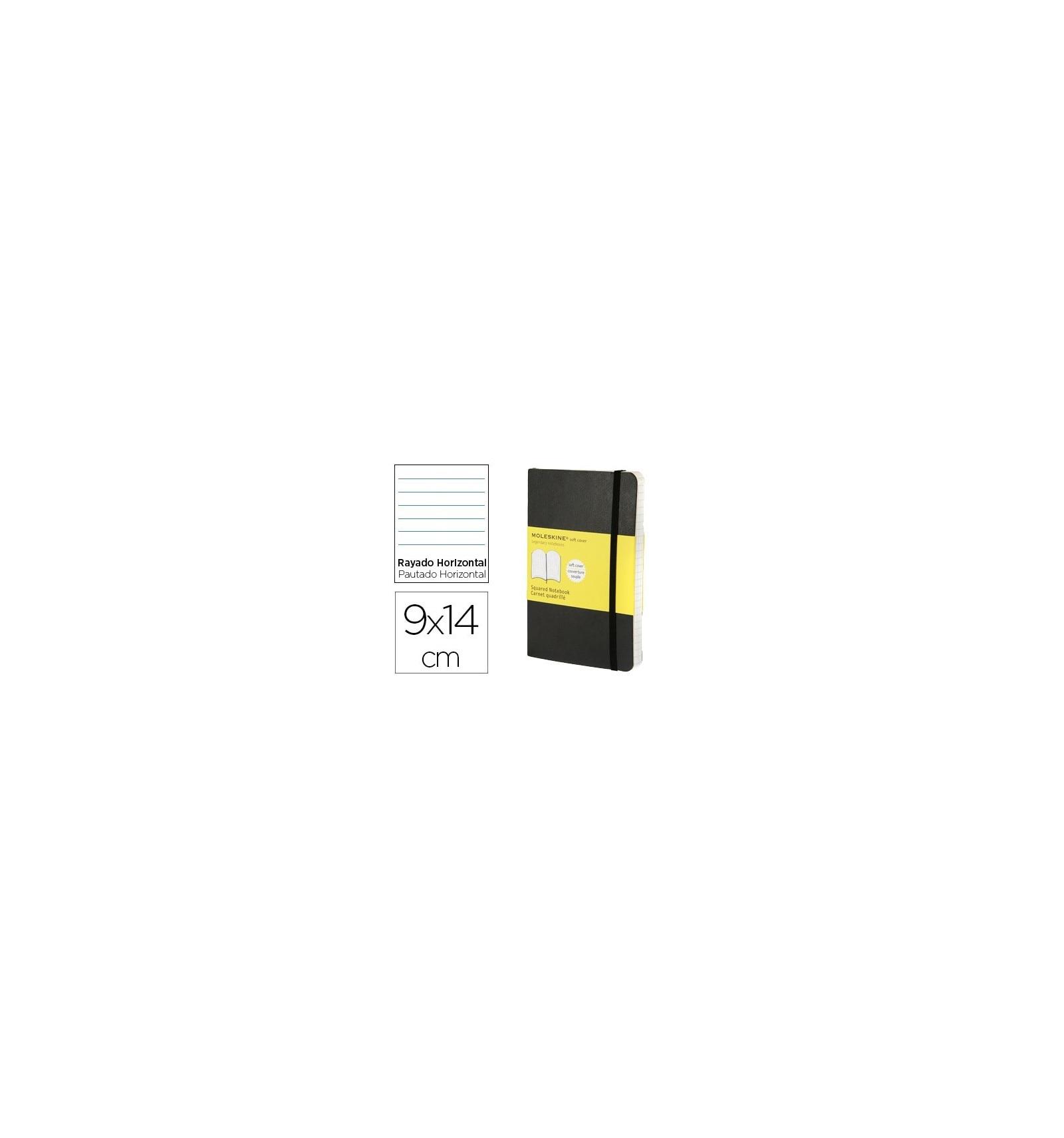 Moleskine caderno capa dura horizontal listrado 192 folhas cor preta fechamento com borracha 90x140mm