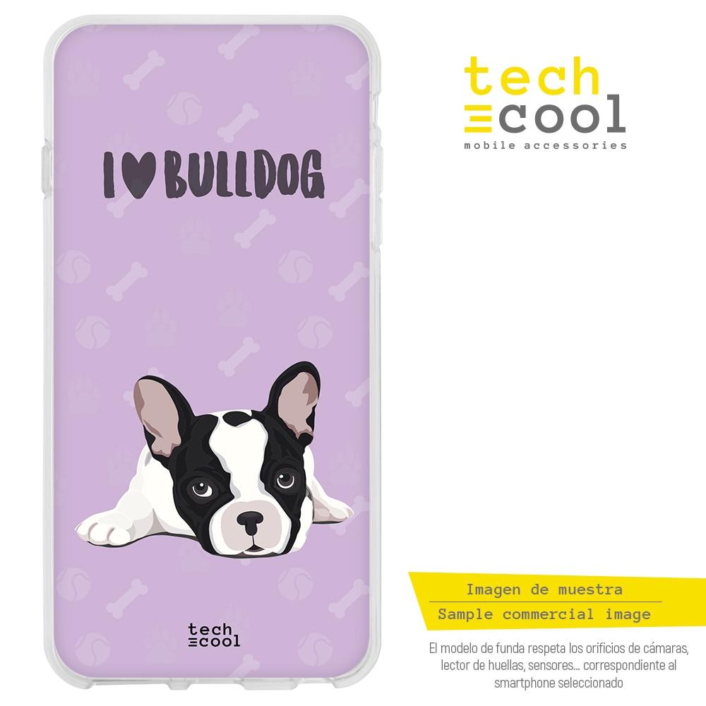 FunnyTech® Funda Silicona para Xiaomi Pocophone F1 l Mascotas I love bulldog frances fondo morado