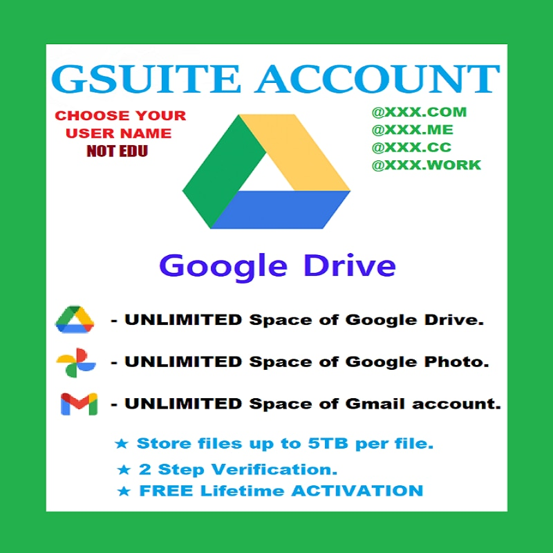 unlimited-google-drive-storage⭐g-suite-new-account⭐lifetime⭐custom-user-name
