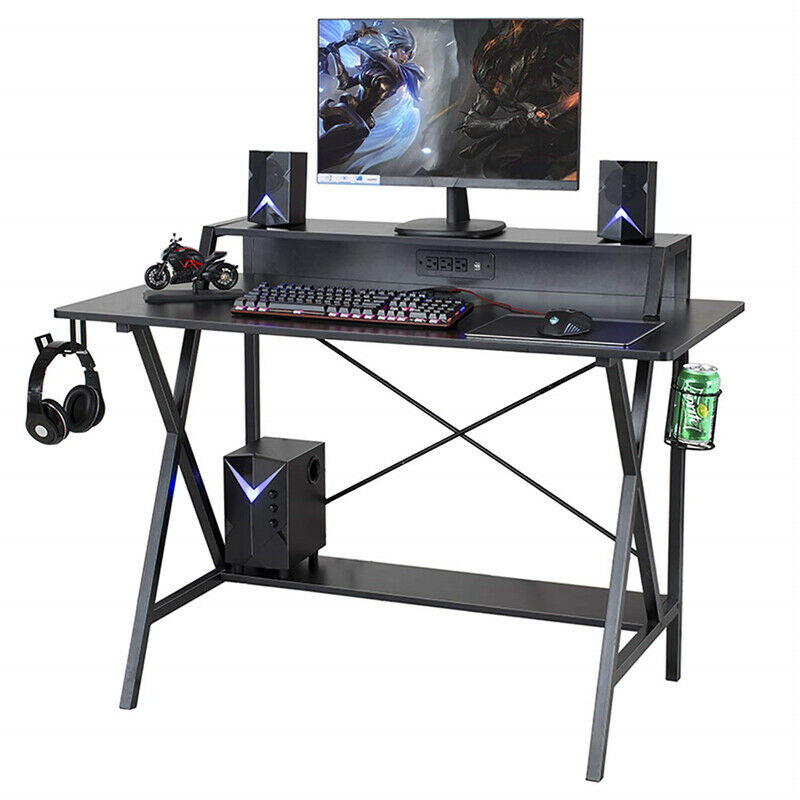 Promo Home Office Gaming Desk Computer Desk Writing Table Workstation PC Stand Shelf Power Strip W/ USB Cup Holder & Headphone Hook