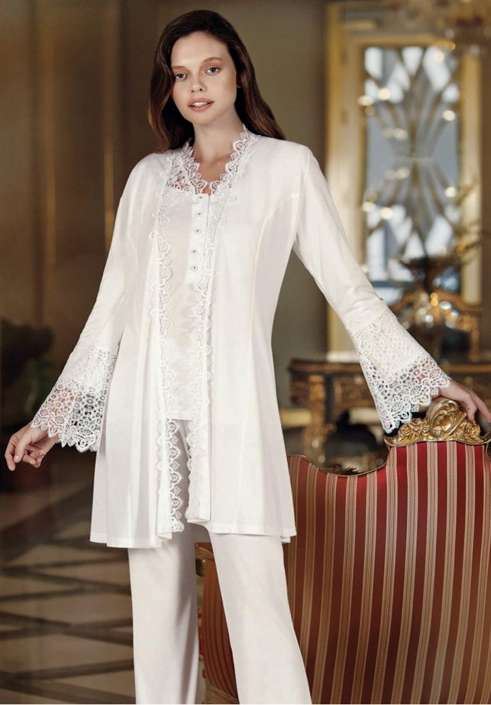 Perin 308 Cotton Lacy 3 Pieces Robe Pajamas Set enlarge