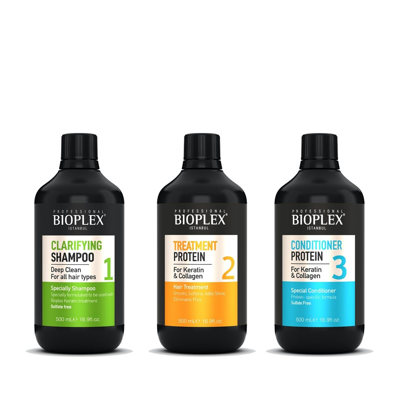 Bioplex علاج بروتين العناية بالشعر إصلاح الضرر يعيد تصويب الشعر الناعم يغذي الكيراتين الشعر وفروة الرأس (3x500 ml)
