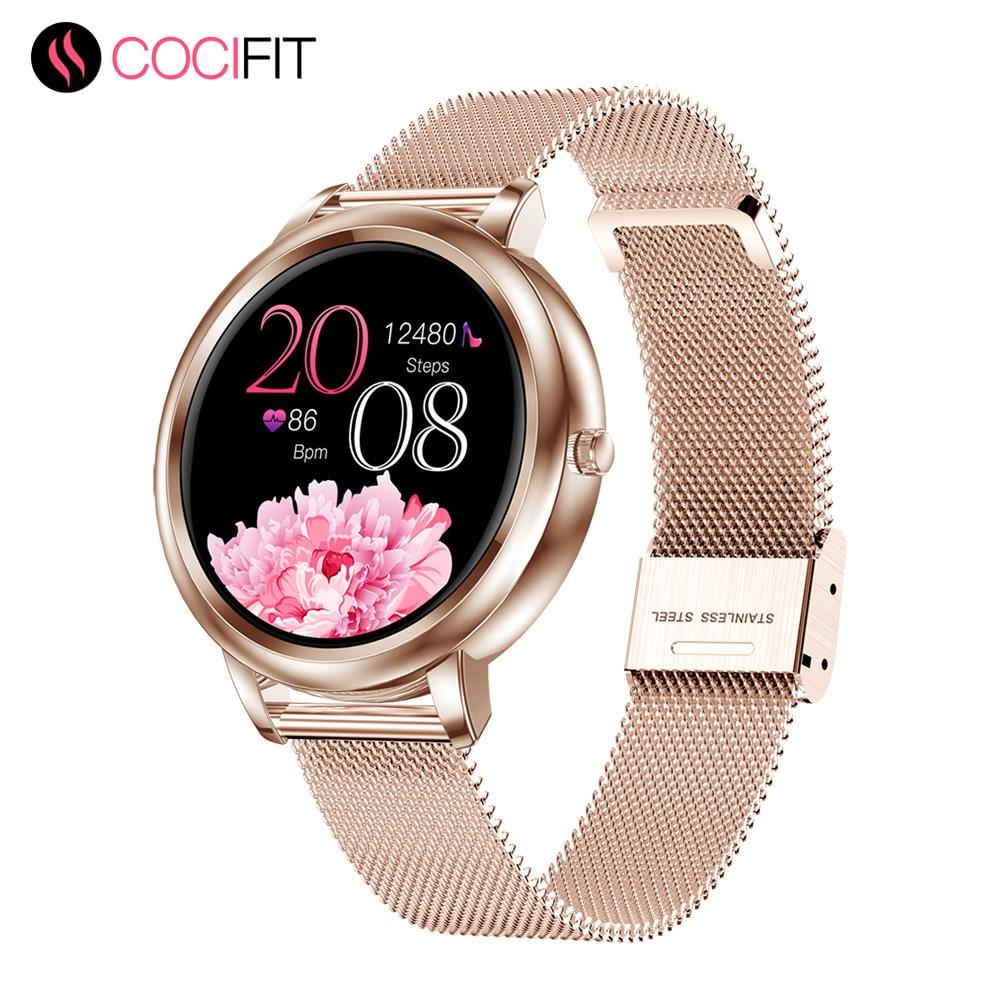 MK20 ساعة ذكية 2020 شاشة كاملة تعمل باللمس 39 مللي متر قطرها النساء Smartwatch للسيدات والفتيات متوافق مع أندرويد و IOS