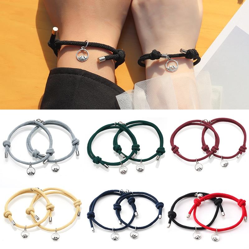 Pulseira para mulher casal atração magnética bola criativo pulseira de aço inoxidável corda amizade presente da jóia