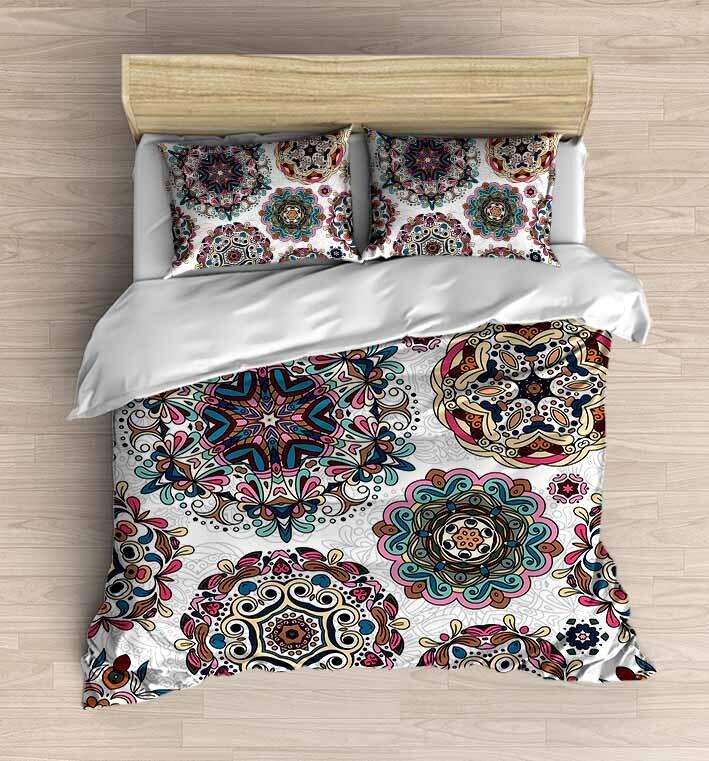 آخر 4 قطعة البني الأصفر أصيلة العثماني جولة 3D طباعة القطن الحرير لحاف مزدوج غطاء الفراش مجموعة ورقة السرير وسادة القضية