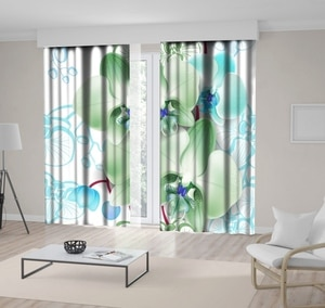 Curtain Cheetah with Palm Leaves Tropical Jungles Wild with Animals Exotic Summer Nature Art Yellow Purple White