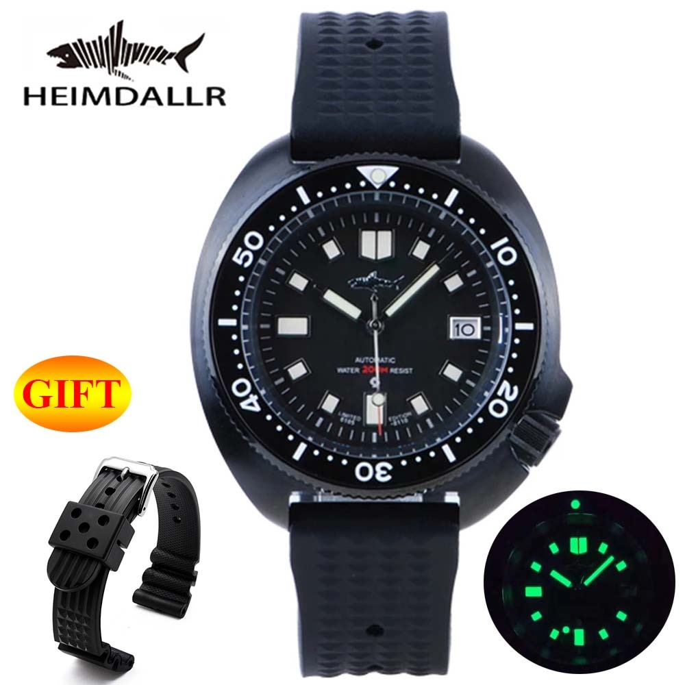 Heimdallr Sharkey Mens Diver Watch Sapphire Black PVD Coated Case Luminous Dial 200M Water Resistance NH35A Automatic Movement
