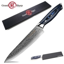 GRANDSHARP нож шеф-повара 8 дюймов японский дамасский нож VG-10 Японский стальной дамасский кухонный нож Кливер PRO лучший Семейный подарок