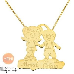 Two Dear Child Name Written Design Silver Necklace