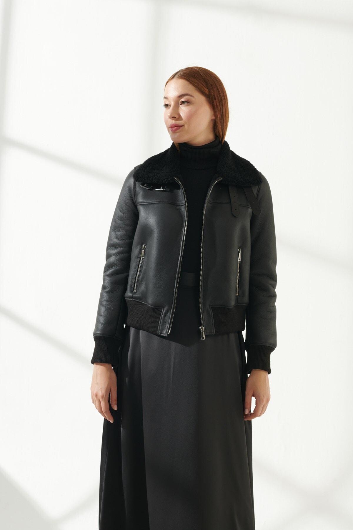 Бесплатная доставка черные зимние ботинки из натуральной овечьей кожи с шерстяной подкладкой женские куртки, байкерские модели курток стр...