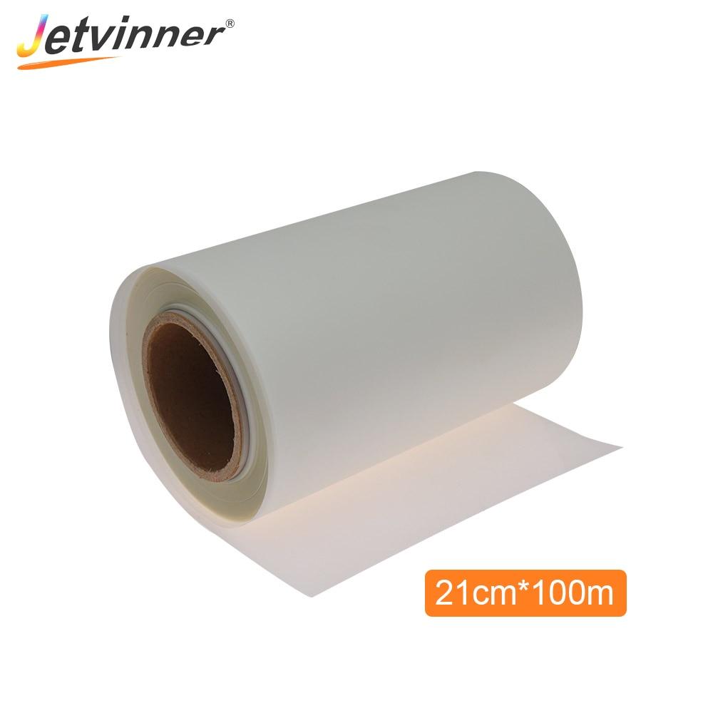 Jetvinner 21 سنتيمتر * 100 متر لفة PET نقل فيلم لإبسون L805 A4 طابعة DTF للنقل المباشر طبع أغشية PET فيلم ل تي شيرت