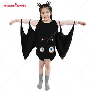 Halloween Vampire Bat Girl Costume Dress with Wings for Kids