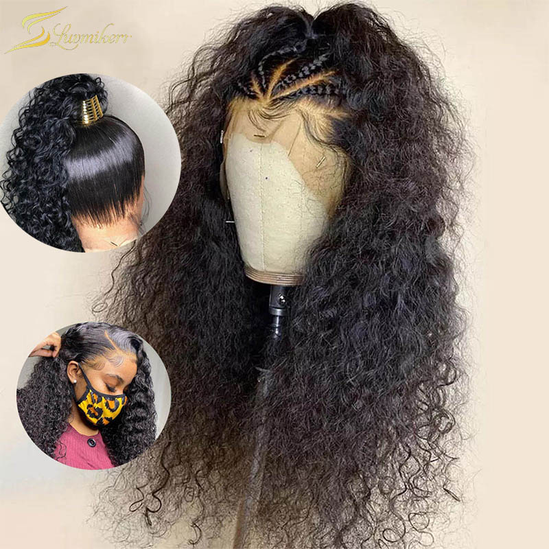 360 Lace Frontal Wig Braided 13x6 Full HD Transparent Lace Wigs Curly Water Wave Lace Front Wig Human Hair Pre Plucked For Women