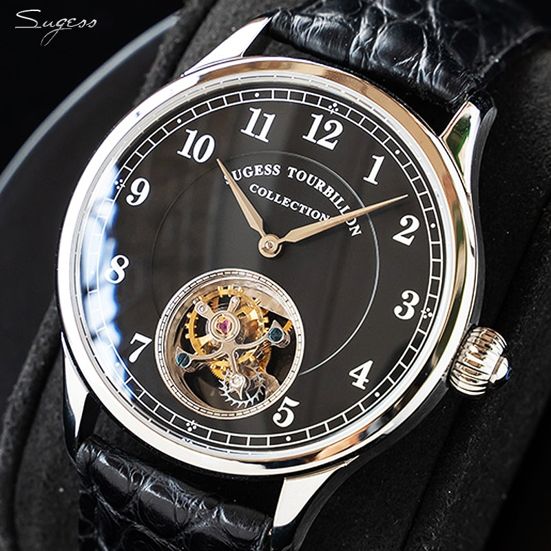 Sugess Real Tourbillon hombres de negocios reloj Seagull ST8000 movimiento de lujo esqueleto relojes mecánicos zafiro plata oro reloj