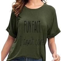 2021 new fashion tops t shirt tee shirt unisex fun fact l dont care letter print t shirt for women funny sayings graphic tees