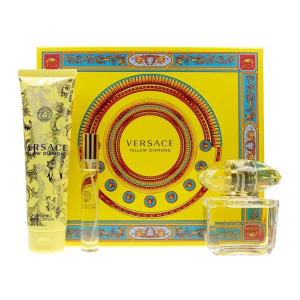 Conjunto de perfume feminino amarelo diamante versace (3 peças)